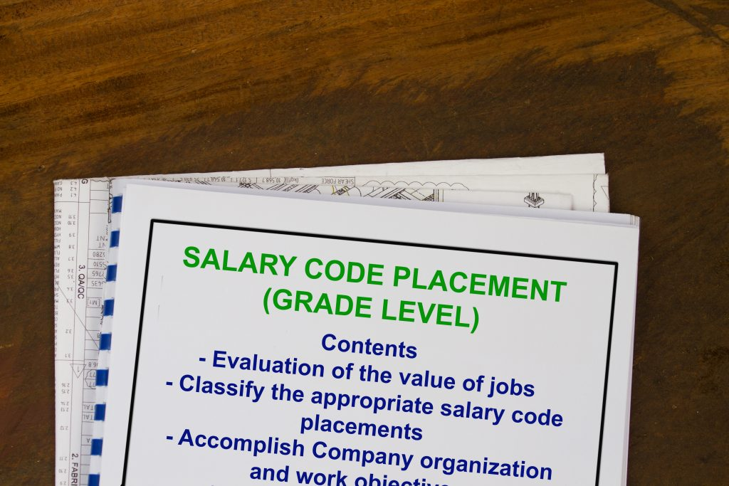 Job salary grade placement code- abstract for salary grade level.